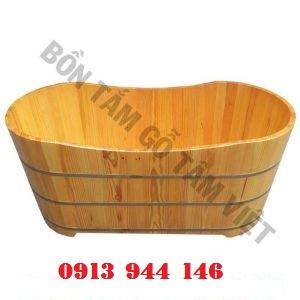 Bồn tắm gỗ thông dài 110cm rộng 65cm cao 60cm