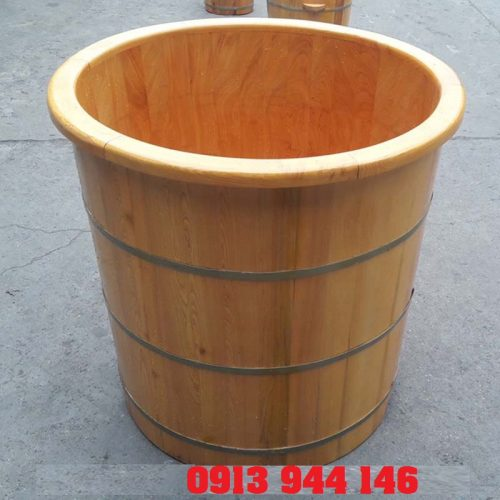 Bồn tắm gỗ pơ mu tròn có 3 đai tôn Tâm Việt