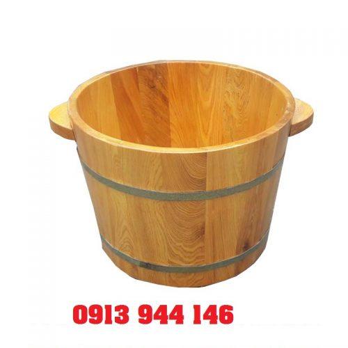 Chậu gỗ pơmu ngâm chân có hạt massage - Tâm Việt