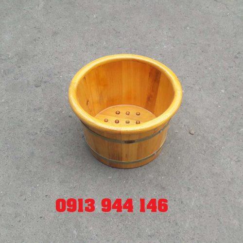 Chậu ngâm chân gỗ pơmu bo viền miệng 42 - Tâm Việt
