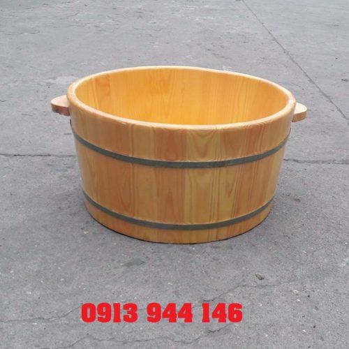 Chậu ngâm mông gỗ thông cao 26cm miệng rộng 50cm Tâm Việt