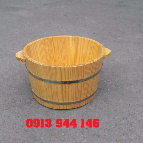 Chậu gỗ ngâm chân 2 đai nhôm Tâm Việt