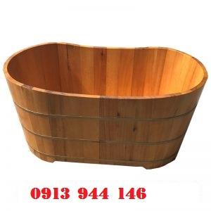 Bồn tắm gỗ pơmu không bo viền 125cm Tâm Việt