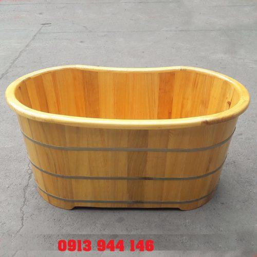 Mẫu bồn tắm gỗ PơMu bo viền 125cm Tâm Việt( Ảnh thật 100%)