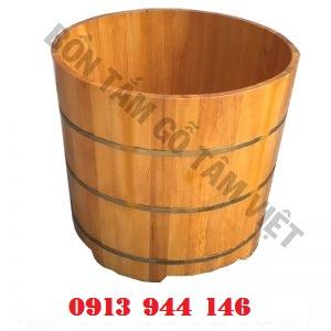 Bồn tắm gỗ pơ mu tròn 80x70cm Tâm Việt