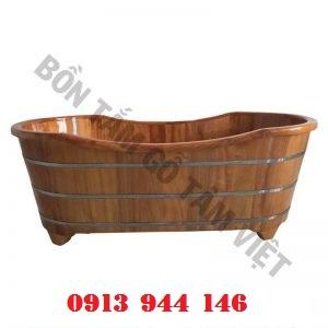 Bồn tắm gỗ pơmu dài 140cm bo miệng Tâm Việt