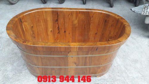 Bồn tắm gỗ bách xanh cao cấp 126x72x65cm