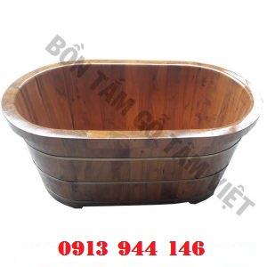 Bồn tắm gỗ bách xanh cao cấp 126x72x65cm Tâm Việt