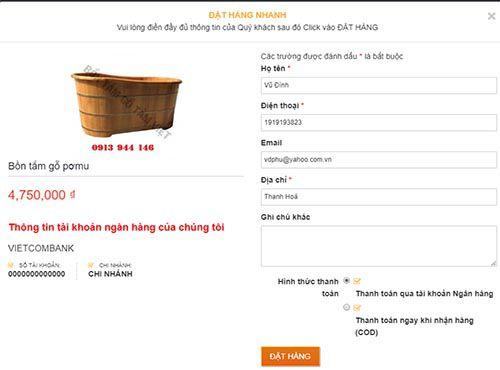 Hướng dẫn đặt hàng trên website của công ty Bồn tắm gỗ Tâm Việt