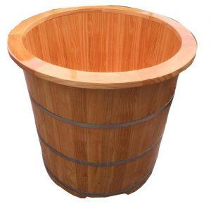 Bồn tắm gỗ bo viền dáng tròn để ngâm thuốc