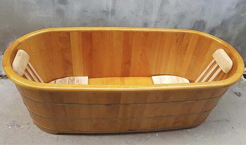 Kich thước Bồn tắm gỗ Pơ mu cho 2 người dài 175cm rộng 75 cao 62