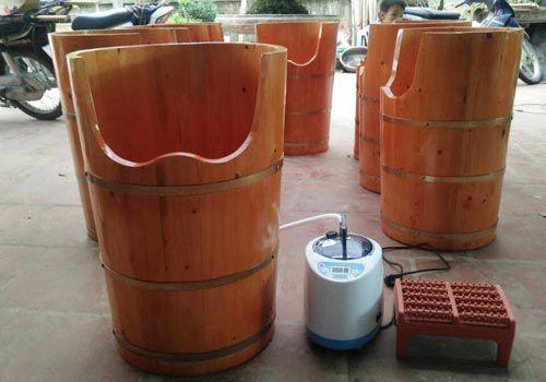 Bán chậu gỗ xông hơi chân bằng gỗ tại Hà Nội