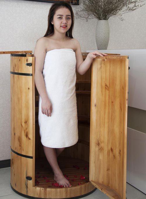 Thùng gỗ không khác gì một chiếc phòng xông hơi mini tại nhà